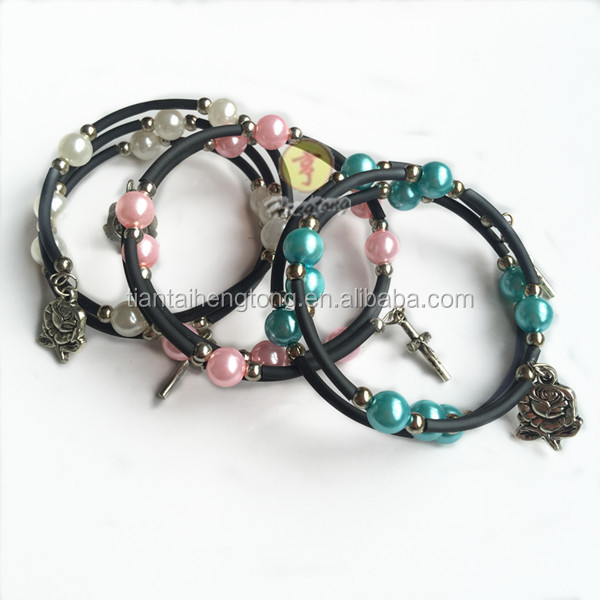 Most popular charm catholic beads alloy cross pendant beads bracelet