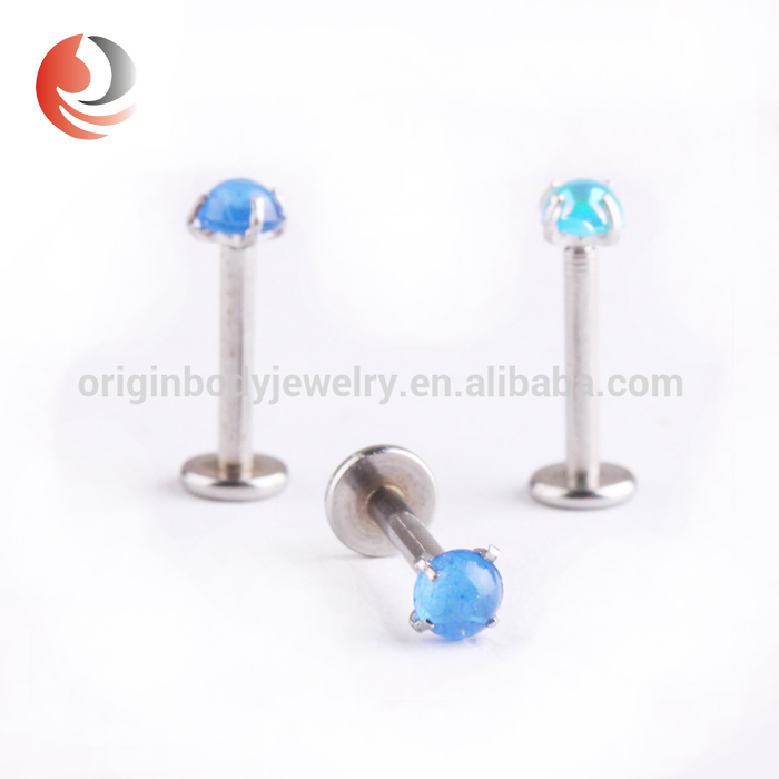 stainless steel prong set synthetic pearl internally thread Labret