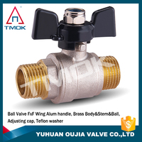 control valve for water gas oil cw167n nickle plaated brass in male thread copper ball Aluminum handle brass ball valve