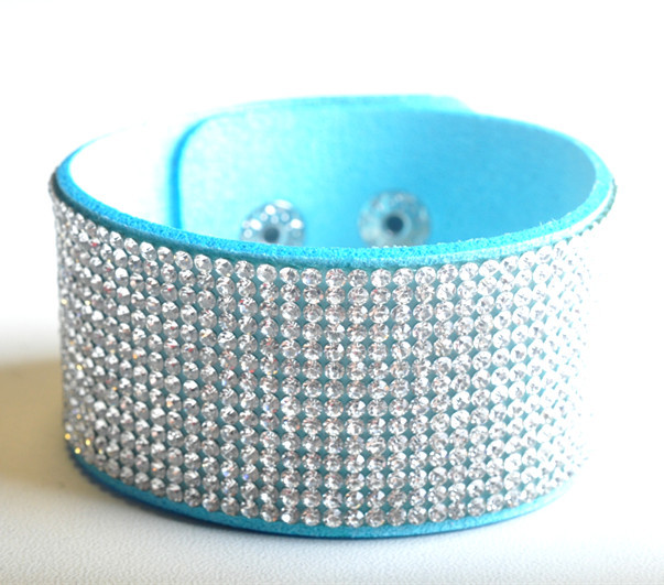 Fashion Suede rhinestone bracelets magnetic bracelet for men and women Moonso A4994
