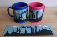Cute Cartoon silicone soft pvc 3D embossed rubber mug