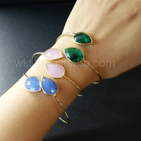 WT-B259 Wholesale colorful teardrop bracelet,14k gold plated glass teardrop bracelet bangle