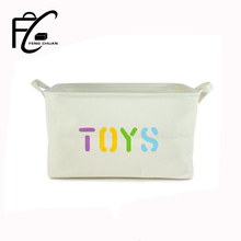 "Foldable Canvas ""Toys "" Storage Bins Toy Storage Basket With Handle"