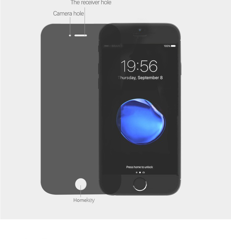 New product! Anti-spy tempered glass screen protector for mobile phone7 anti-peep privacy film 9H explosion for phone7 plus