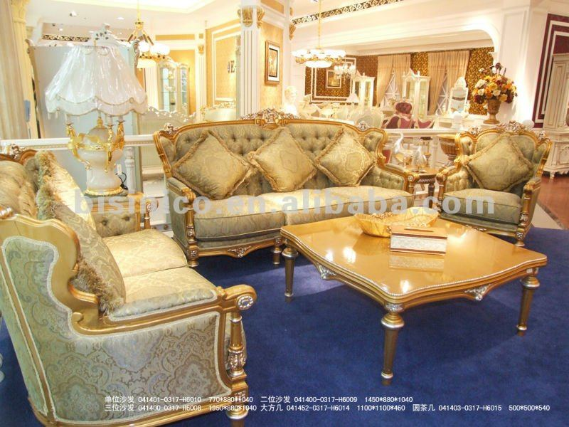 Luxury European Classical Sofa SetWood Carving SetGold Plated Living Room Furnitureb50664