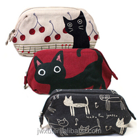 factory price wholesale plain canvas cosmetic bag with cat picture