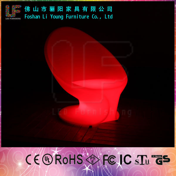 Waterproof LED Plastic white plastic chair plastic bright colored single sofa chair