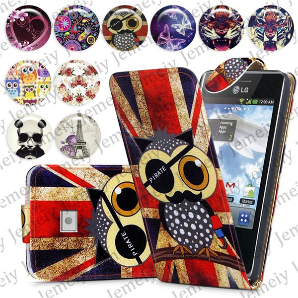 Fashion Patterns Printed Magnetic Top Flip PU Leather Case Card Holder Wallet Phone Cover Skin For LG Optimus L3 E400