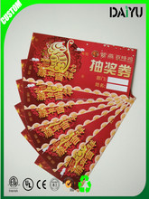 Custom paper printing raffle tickets coupon wholesale
