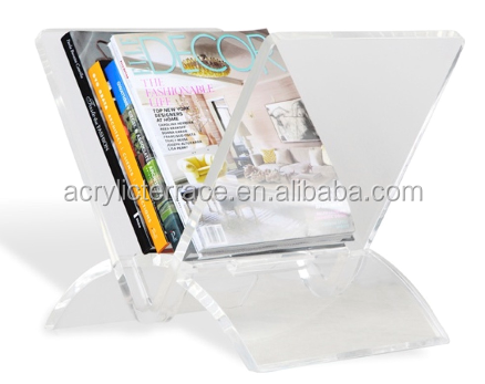 v shape perspex magazine rack