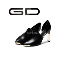 spring autumn new metal pointed toe stiletto heels women's low-fronted office big size high heel shoes