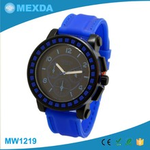 Fashion custom stainless steel back cese silicone rubber slap watch