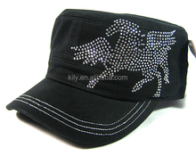 Bling Bling Pegasus Design Iron on rhinestone hot fix strass transfer Motif for hat