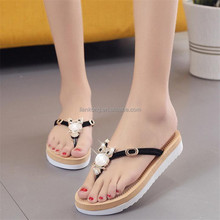 wholesale women summer beach sandals and slippers Soft pu shoe Ladies fashion sandals