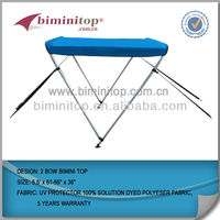 600D pigment cloth aluminum round tube 2 bow biminitop with 4 nylon straps