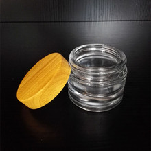 wooden cosmetic container bamboo box with lids 30ml/50ml glass jar with wooden top