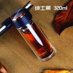 factory 320ml classical black water bottle for gentleman/wholesale Eco-friendly glass water bottle/2016 new water bottle