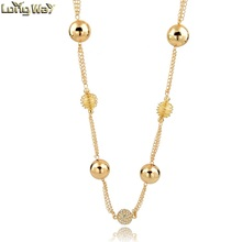 Fashion Gold Ball Shaped Metal With Rhinestone Ball Long Statement Necklace