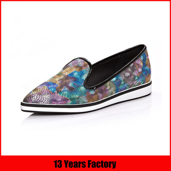 women printed leather casual shoes