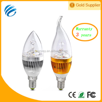 Wuhan Granvey indoor led candle lights silver/gold shell pull/round tail e14/e26 AC85-265V aluminum+PC