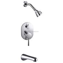 Bathroom Single Handle Polished Chrome Shower Faucet Tap Trim Valve Body Tub Spout Complete Kit Wall mounted