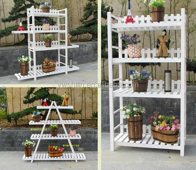 Triangle wooden flower stands wooden flower pot stands - Estantes para macetas ...