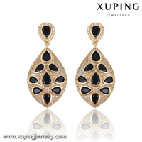 91601-xuping fashion jewelry beautiful 18k gold black stone diamond dangler earrings