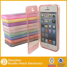 China new arrived Sensor Touchable Flip cover for iphone 5s,transparent case for iphone 5,5s