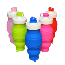Wholesale Customizable Heat-Resistant Leakproof Silicone Foldable Travel/Cycling/Bicycle/Bike/Gym Sports Water Bottle