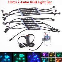 10Pcs 7-Color RGB Car Interior Footwell Floor Decor Atmosphere LED Light Strips