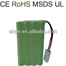 UL, CE, ROHS Approved AA 800mAh 9.6V NIMH rechargeable battery pack for RC toy, electric toy, power tool