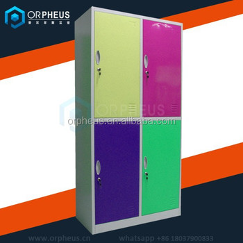 4 door all metal clothes functional cabinet Modern design high quality knock down compartment steel locker in beautiful color