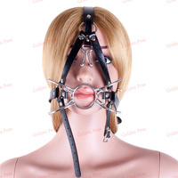 2015 Metal Spider O Ring Open Mouth Gag With Nose Hook Fetish Fantasy Oral Fixation Gag Harness Head Restraint Sex Toys
