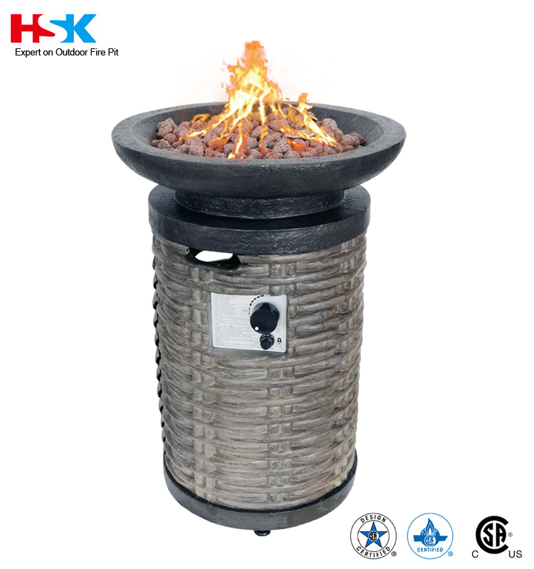 Outdoor garden cast stone patio firepit furniture type Brown Wicker Column propane gas Fire pit bowl with Stainless steel Burner
