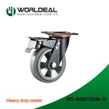 High quality hot sale high loading capicity Red pu wheel with brake caster heavy duty scaffold caster with lock