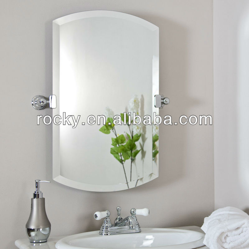 bathroom frameless bevelling shield shaped mirror ISO9001