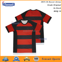Wholesale plain football sportswear, hot sale 100% polyester in stock design your own logo soccer jerseys