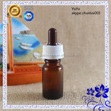 Amber 10ml glass dropper bottles with childproof dropper colorful nipple with shrink wraps