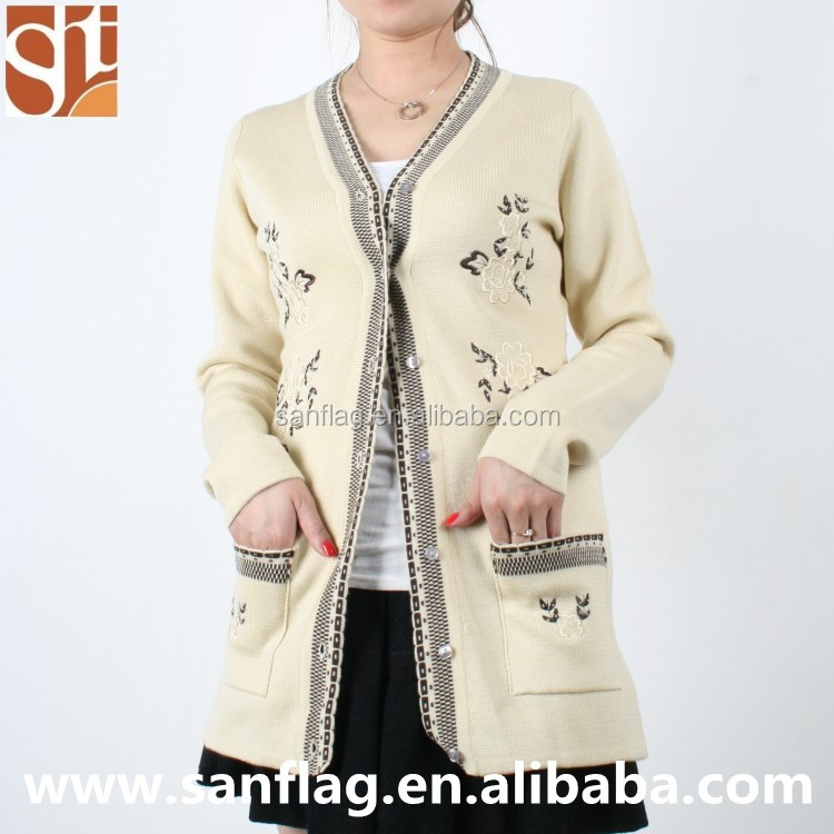 Sweater Product Type and Women Gender ladies fashion cardigan sweater with flower machine embroidery