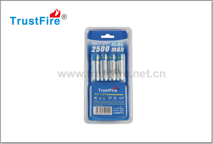 TrustFire AA 1.2V 14500 size NI-MH rechargeable battery wide-use aa 2300mah/2500mAh battery