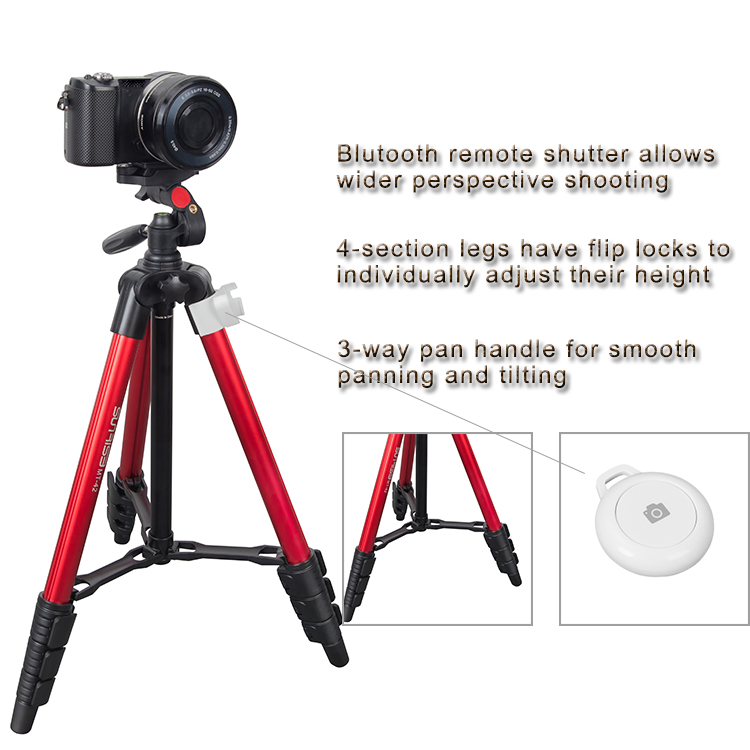 Sunrise Aluminum Professional Foldable Extendable Universal Bluetooth Mobile Phone Video Camera Tripod Stand with Quick Release