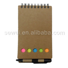 Customized cardboard cover spiral notepad notebook with pen for students
