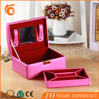 New bulk products luxury pink leather competitive price jewelry case from China