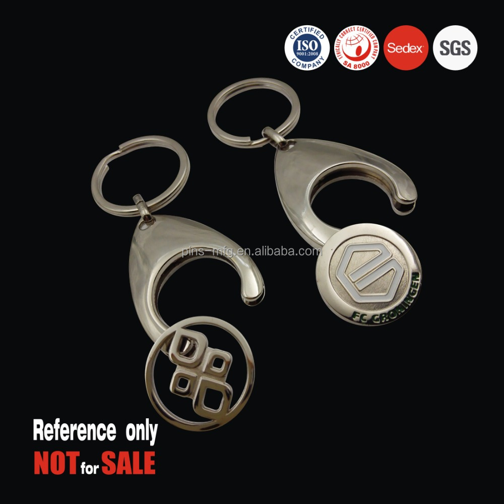 Supermarket shopping zinc alloy trolley coin keychain