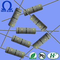 QCR electronic component MECF 2 watt 1 ohm fixed ceramic CARBON film resistor with non-flame encapsulant