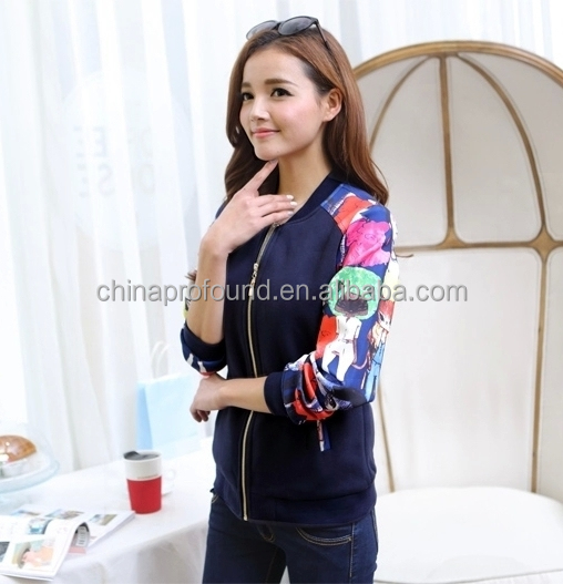 Fashion printing raglan long sleeve bomber jacket zipper sweatshirt without hood for women