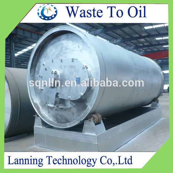 Waste tyre pyrolysis plant to diesel with 6 ton capacity and 48% oil yield