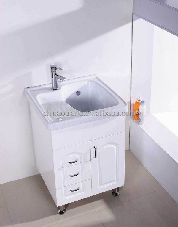 country style bathroom cabinet pvc bathroom mirror cabinet with Laundry sink