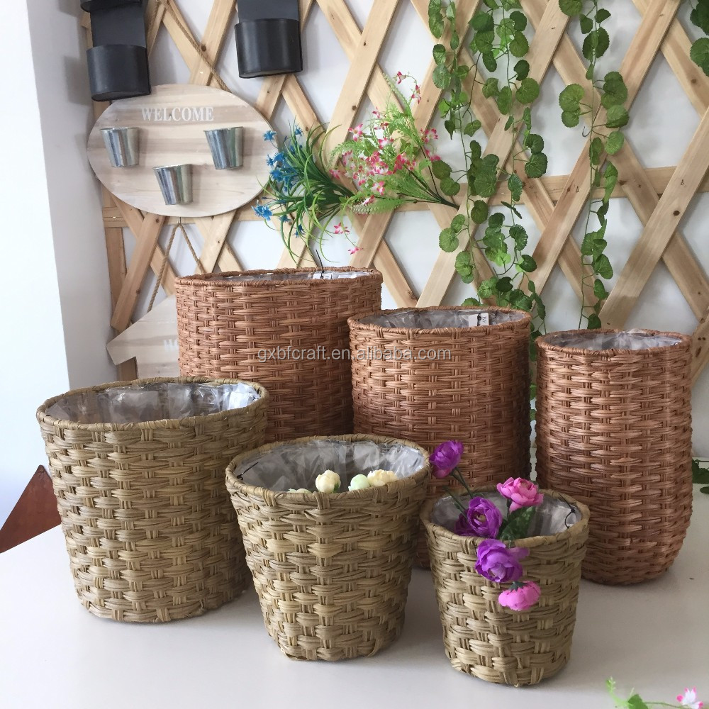 Popular Simple Flower Pots Stands Designs With Plastic Liner