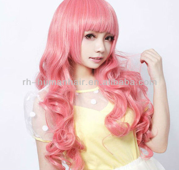 pink cute fashion long curly full lace cosplay wigs party wigs costume wigs
